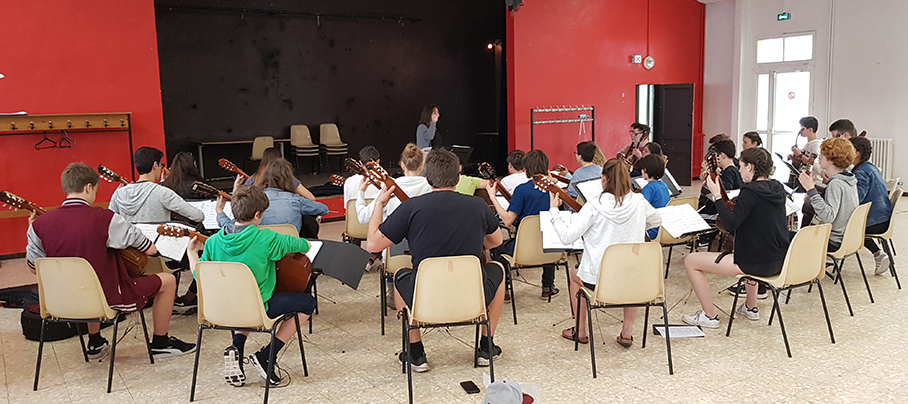 Probe mit dem Ensemble der Guitarles Academie